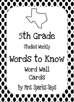 5th Grade Studies Weekly Words to Know Word Wall Words Complete