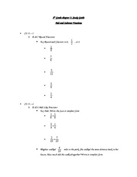 5th Grade Study Guide Add and Subtract Fractions by Nicoleen Winklarek
