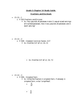5th Grade Study Guide Fractions and Decimals