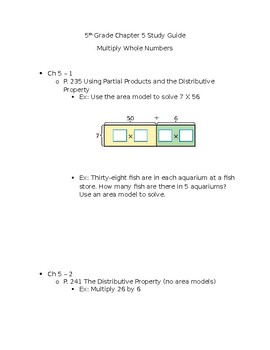 5th Grade Study Guide Multiplying Whole Numbers