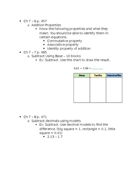 5th Grade Study Guide for 'Add & Subtract Decimals' Test