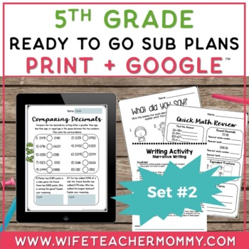 Sub Plans 5th Grade Ready To Go for Substitute. DAY #2. No