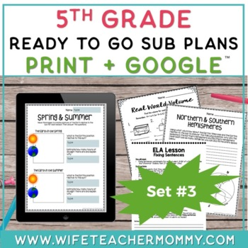 5th Grade Sub Plans Ready To Go for Substitute. DAY #3. No Prep. One full day.