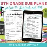 5th Grade Sub Plans Set #3- Emergency Substitute Plans for Sub Tub