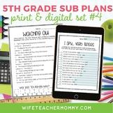 5th Grade Sub Plans Set #4- Emergency Substitute Plans for Sub Tub