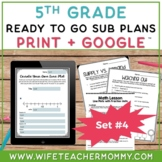 5th Grade Sub Plans Set #4- Emergency Substitute Plans for Sub Tub