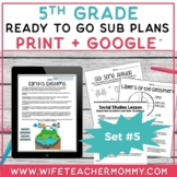 5th Grade Sub Plans Ready To Go for Substitute. DAY #5. No Prep. One full day.