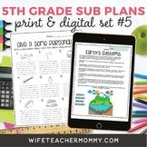 5th Grade Sub Plans Set #5- Emergency Substitute Plans for Sub Tub