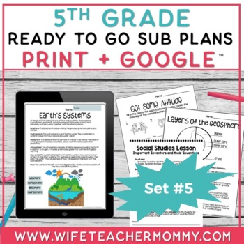 5th Grade Sub Plans Ready To Go for Substitute. DAY #5. No