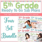 5th Grade Sub Plans 4 Set Bundle- Emergency Substitute Plans for Sub Tub