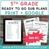 5th Grade Sub Plans Set #1- Emergency Substitute Plans for Substitute Folder