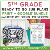 5th Grade Sub Plans- Emergency Substitute Plans Sub Tub Bundle Distance Learning