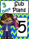5th Grade Substitute Plans: Reading, Math, Writing
