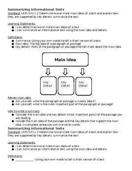 5th Grade Summarizing Informational Texts 1 Page Notes