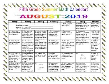 5th Grade Summer Math Calendars