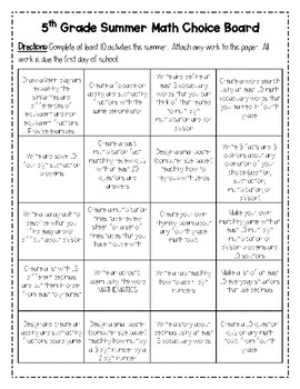 5th Grade Summer Math Choice Board