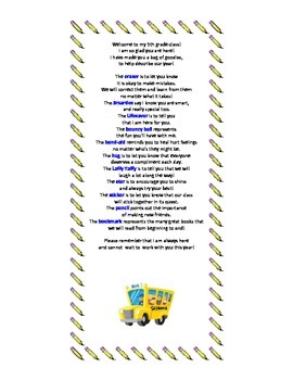 5th Grade Survival Kit Poem
