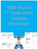 5th Grade TEKS Aligned Spiraling Math Homework-1st Semester Bundle