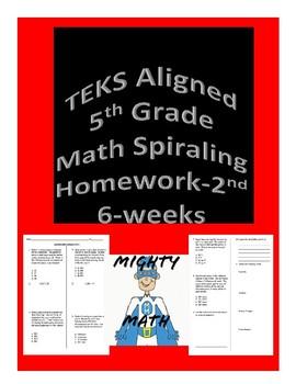 5th Grade TEKS Aligned Spiraling Math Homework 2nd and 3rd Six Weeks Bundle