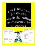 5th Grade TEKS Aligned Spiraling Math Homework-3rd Six weeks