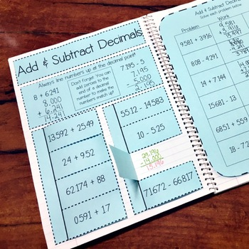 5th Grade TEKS Decimal Place Value and Operations Interactive Notebook