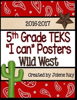 "5th Grade TEKS ""I Can"" Statement Poster Bundle - Wild West Theme"