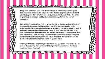 "5th Grade TEKS ""I Can"" Statements 2015 All Core Subjects"