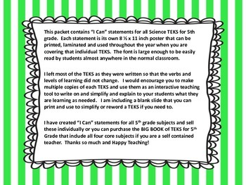 "5th Grade TEKS ""I Can"" Statements Science 2015"