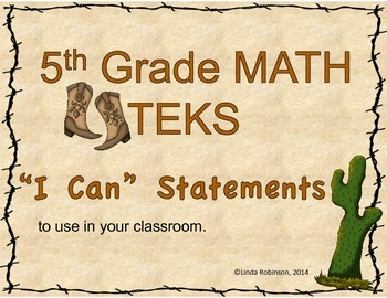 "5th Grade Western Theme MATH TEKS, ""I Can"" Statements"
