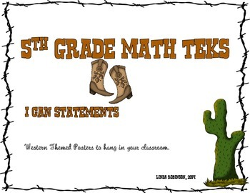 5th Grade Math TEKS, I Can Statements, Western Theme White Background