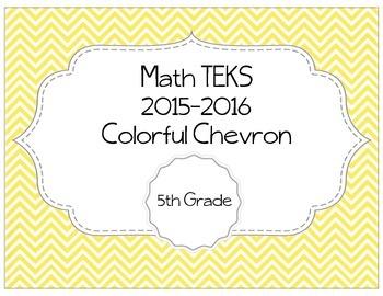 5th Grade Math TEKS Posters - Colorful Chevron