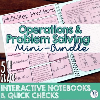 5th Grade TEKS Whole Number Interactive Notebook & Quick Checks Mini-Bundle