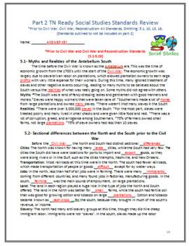 5th Grade TN Part2 Social Studies: Prior to Civil War, Civil War, Reconstruction