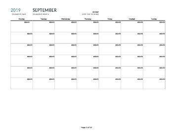 5th Grade TUSD Pacing Calendar by month
