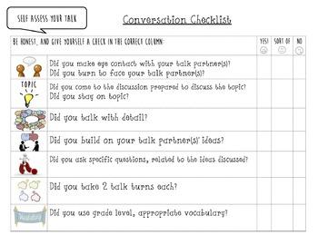 5th Grade Talk Rubric, Checklist and Reflection Sheet