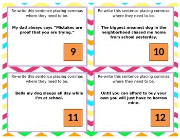 5th Grade Task Cards - Commas  **EDITABLE**