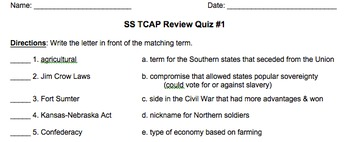 5th Grade Tennessee Social Studies TNReady Practice Quizzes