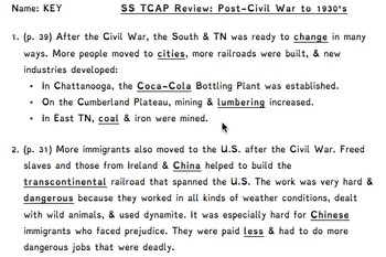 5th Grade Tennessee Social Studies TNReady Review - Post-Civil War to 1930's