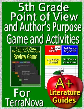 5th Grade TerraNova Test Prep Point of View and Author's Purpose Game Activities
