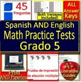 5th Grade Bilingual Math: Test Prep Practice Tests - English AND Spanish Version