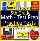 5th Grade Test Prep Math Practice AND Games Bundle - Spiral Review Google Ready!