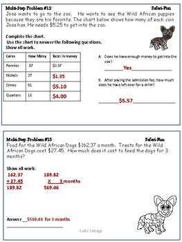 5th Grade Test-Prep Word Problems with a Science Safari Theme