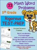 5th Grade Test-Prep Math Word Problems - Science Safari Theme