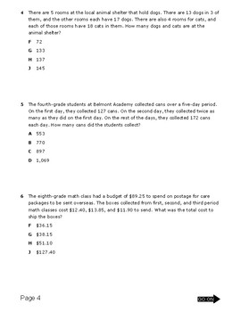 5th Grade Test on Order of operations, multistep word problems, +/- rational #'s