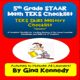 5th Grade Math TEKS Checklist, Great for Teacher Records and Math Folders