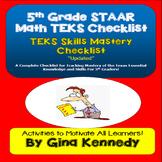 5th Grade Math TEKS Checklist, Great for Teacher Records and Math Folders