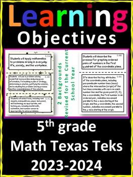 5th Grade Texas TEKS Math Learning Objectives Cards