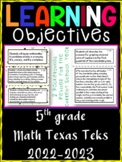5th Grade Texas TEKS Math Learning Objectives Cards   Color & B&W
