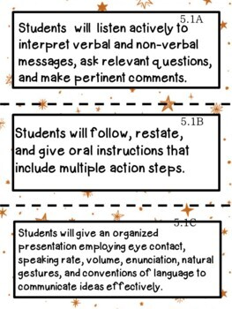 5th Grade Texas TEKS Reading/ Writing Learning Objectives Cards