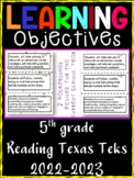 5th Grade Texas TEKS Reading/ Writing Learning Objectives Cards | Color & B&W